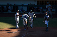 Glendale Desert Dogs first baseman Jared Walker (66), of the Los Angeles Dodgers organization, is congratulated by teammates Li-Jen Chu (2) and Estevan Florial (13) as he crosses home plate in front of catcher Jake Rogers (8) after hitting a go-ahead three-run home run in the eighth inning of an Arizona Fall League game against the Mesa Solar Sox at Sloan Park on October 27, 2018 in Mesa, Arizona. Glendale defeated Mesa 7-6. (Zachary Lucy/Four Seam Images)