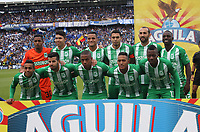 BOGOTÁ - COLOMBIA, 09-03-2019:Formación del Atlético Nacional ante Millonarios durante partido por la fecha 9 de la Liga Águila I 2019 jugado en el estadio Nemesio Camacho El Campín de la ciudad de Bogotá. / Team of Atletico Nacional  agaisnt of Millonarios    during the match for the date 9 of the Liga Aguila I 2019 played at the Nemesio Camacho El Campin Stadium in Bogota city. Photo: VizzorImage / Felipe Caicedo / Staff.