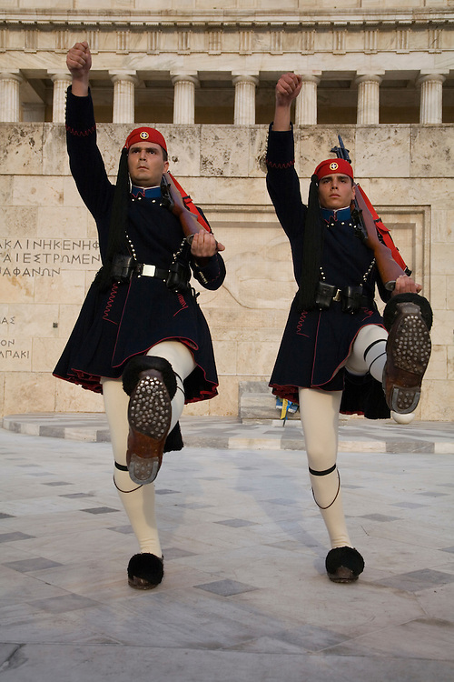Changing of the Guard by the special infantry unit of the Greek Army at the Tomb of the Unknown Warrior, Athens.