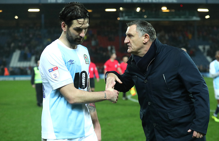 Blackburn Rovers' Charlie Mulgrew and Blackburn Rovers manager Tony Mowbray at the end of todays match<br /> <br /> Photographer Rachel Holborn/CameraSport<br /> <br /> The EFL Sky Bet Championship - Blackburn Rovers v Sheffield Wednesday - Saturday 1st December 2018 - Ewood Park - Blackburn<br /> <br /> World Copyright © 2018 CameraSport. All rights reserved. 43 Linden Ave. Countesthorpe. Leicester. England. LE8 5PG - Tel: +44 (0) 116 277 4147 - admin@camerasport.com - www.camerasport.com