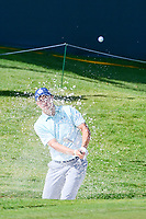 Jordan Spieth (USA) hits from the trap on 18 during round 2 of the Dean &amp; Deluca Invitational, at The Colonial, Ft. Worth, Texas, USA. 5/26/2017.<br /> Picture: Golffile | Ken Murray<br /> <br /> <br /> All photo usage must carry mandatory copyright credit (&copy; Golffile | Ken Murray)