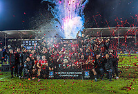 The Crusaders celebrate winning the 2019 Super Rugby final between the Crusaders and Jaguares at Orangetheory Stadium in Christchurch, New Zealand on Saturday, 6 July 2019. Photo: Dave Lintott / lintottphoto.co.nz