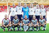 USWNT Starting Eleven before the game. USA 4,  Norway 0, Fredrikstad Stadium, July 2, 2008.