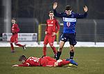2018-03-03 / Voetbal / Seizoen 2017-2018 / FC Turnhout - Vosselaar / Nick Havermans (Vosselaar, op de grond) met Lennert Versmissen<br /> <br /> ,Foto: Mpics.be
