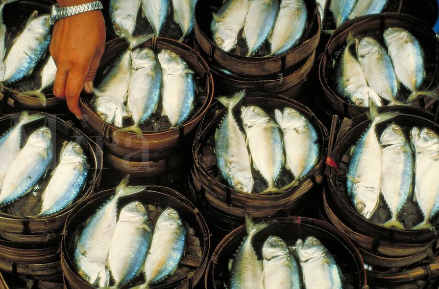 Fish in baskets at the market in Bangkok, Thailand. Bangkok, Thailand.