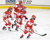 Louise Warren (BU - 28), Jenelle Kohanchuk (BU - 19), Tara Watchorn (BU - 27), Kasey Boucher (BU - 3) - The Boston College Eagles defeated the Boston University Terriers 2-1 in the opening round of the Beanpot on Tuesday, February 8, 2011, at Conte Forum in Chestnut Hill, Massachusetts.