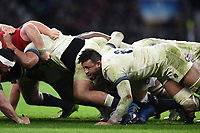 Courtney Lawes of England in action at a scrum. Natwest 6 Nations match between England and Wales on February 10, 2018 at Twickenham Stadium in London, England. Photo by: Patrick Khachfe / Onside Images
