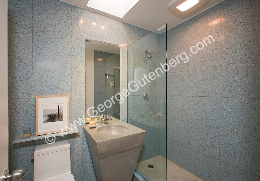 Moden bathroom with inverted pyramid sink Stock photo of master bath, en suite, bathroom