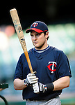 4 September 2009: Minnesota Twins' shortstop Brendan Harris awaits his turn in the batting cage prior to a game against the Cleveland Indians at Progressive Field in Cleveland, Ohio. The Indians defeated the Twins 5-2 to take the first game of their three-game weekend series. Mandatory Credit: Ed Wolfstein Photo
