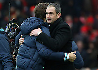 Swansea City manager Paul Clement congratulates Fernando Llorente of Swansea City after the final whistle of the Premier League match between Liverpool and Swansea City at Anfield, Liverpool, Merseyside, England, UK. Saturday 21 January 2017
