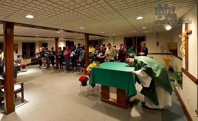 Oct. 2, 2011; Sunday night Mass in Badin Hall..Photo by Matt Cashore/University of Notre Dame