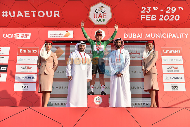 Green Jersey holder Caleb Ewan (AUS) Lotto-Soudal wins Stage 2 the Dubai Municipality Stage and retains the Green Jersey of the UAE Tour 2020 running 168km from Hatta to Hatta Dam, Dubai. 24th February 2020.<br /> Picture: LaPresse/Fabio Ferrari | Cyclefile<br /> <br /> All photos usage must carry mandatory copyright credit (© Cyclefile | LaPresse/Fabio Ferrari)