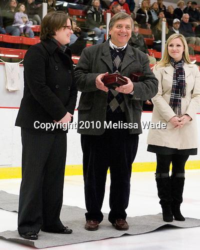 Hilary Witt (Yale Head Coach and Northeastern honoree), Joe Bertagna, Tammy Shewchuk Dryden (Harvard honoree) - The Harvard University Crimson defeated the Northeastern University Huskies 1-0 to win the 2010 Beanpot on Tuesday, February 9, 2010, at the Bright Hockey Center in Cambridge, Massachusetts.