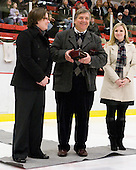 Hilary Witt (Yale Head Coach and Northeastern honoree), Joe Bertagna, Tammy Shewchuk Dryden (Harvard honoree) - The Harvard University Crimson defeated the Northeastern University Huskies 1-0 to win the 2010 Beanpot on Tuesday, February 9, 2010, at the Bright Hockey Center in Cambridge, Massachusetts.