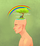 Illustrative image of man with scenery on head representing positive living