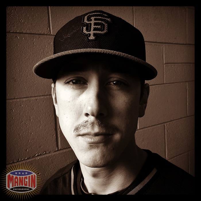 SCOTTSDALE, AZ - FEBRUARY 23: Instagram of Tim Lincecum of the San Francisco Giants posing for a picture on photo day during spring training at Scottsdale Stadium on February 23, 2014 in Scottsdale, Arizona. Photo by Brad Mangin
