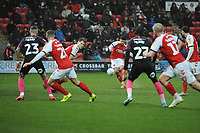 Fleetwood Town's Danny Andrew hits the free kick<br /> <br /> Photographer Kevin Barnes/CameraSport<br /> <br /> The EFL Sky Bet League One - Fleetwood Town v Peterborough United - Saturday 15th February 2020 - Highbury Stadium - Fleetwood<br /> <br /> World Copyright © 2020 CameraSport. All rights reserved. 43 Linden Ave. Countesthorpe. Leicester. England. LE8 5PG - Tel: +44 (0) 116 277 4147 - admin@camerasport.com - www.camerasport.com