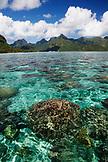 FRENCH POLYNESIA, Moorea. Reefs along the coastline by Opunohu Bay.