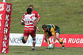 Jamie King dots down to score after intercepting Kalione Hala's pass. Counties Manukau Premier Counties Power Club Rugby game between Karaka and Pukekohe, played at the Karaka Sports Park on Saturday March 10th 2018. Pukekohe won the game 31 - 27 after trailing 5 - 20 at halftime.<br /> Photo by Richard Spranger.