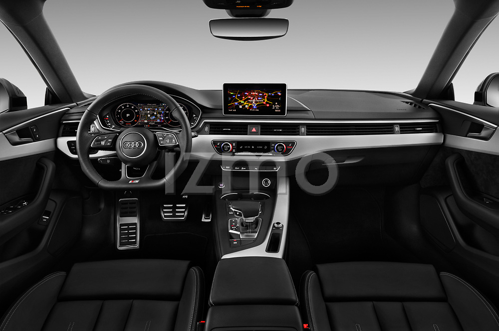Stock photo of straight dashboard view of 2017 Audi A5 Sportback Premium 5 Door Hatchback