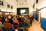 Bucks county councillor Martin Stott ( holding the waste portfolio) talks at a public consultation in Gerrards Cross community centre. .Waste giant Veolia were planning on putting in an incinerator at  Wapsey's Wood , Beaconsfield. Bucks amidst much public concern.  Next to Stott are  a variety of pro incineration people  ie  RPS consultants  and far right  Professor Harrison  whos  paper initiated by  the Government signed off  incineration as  'safe'