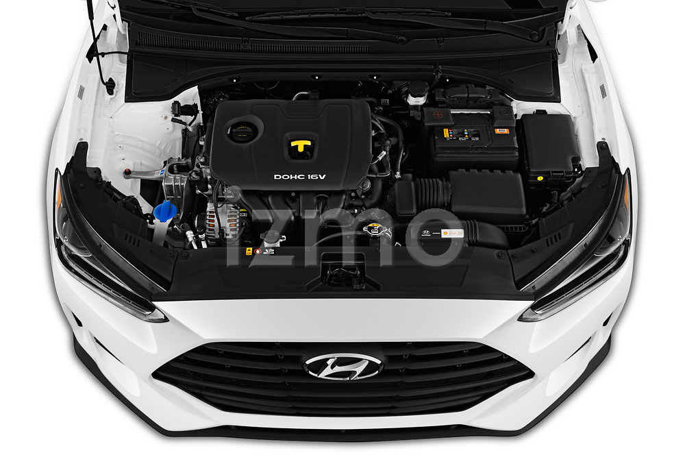 Car stock 2019 Hyundai Veloster Base 3 Door Hatchback engine high angle detail view