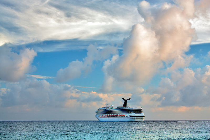 Cruise ship near sunset off St. Thomas. US Virgin Islands.
