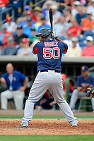 Boston Red Sox first baseman Mauro Gomez #50 during a Spring Training game against the Philadelphia Phillies at Bright House Field on March 24, 2013 in Clearwater, Florida.  Boston defeated Philadelphia 7-6.  (Mike Janes/Four Seam Images)