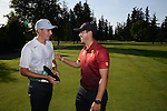 30 MAY 2016: Rico Hoey of the University of Southern California congratulates Aaron Wise of Oregon following the Division I Men's Golf Championship is held at the Eugene Country Club in Eugene, OR. Wise finished in first place with a -5 score and Hoey finished in second place with a -3 score. Stephen Nowland/NCAA Photos