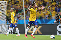 Brazil's Neymar apeals to the fans as he goes to take a corner