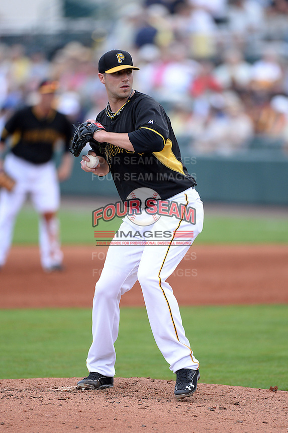 Pitcher Duke Welker (53) of the Pittsburgh Pirates during a spring training game against the New York Yankees on February 26, 2014 at McKechnie Field in Bradenton, Florida.  Pittsburgh defeated New York 6-5.  (Mike Janes/Four Seam Images)