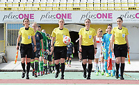 20180305 - LARNACA , CYPRUS : referees pictured with Czech Lucie Ratajova , Czech Veronika Kovarova , Czech Jana Zaplatilova and Czech Nikol Safrankova during a women's soccer game between Switzerland and Wales , on monday 5 March 2018 at GSZ Stadium in Larnaca , Cyprus . This is the third game in group A for Switzerland and Wales during the Cyprus Womens Cup , a prestigious women soccer tournament as a preparation on the World Cup 2019 qualification duels. PHOTO SPORTPIX.BE   DAVID CATRY