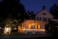 AJ4536, lodging, inn, Vermont, Montpelier, The Inn at Montpelier is illumintated at night in Montpelier in the state of Vermont.