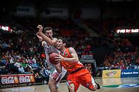 VALENCIA, SPAIN - OCTOBER 20: Stevan Jelovac and Sam Van Brossom during EUROCUP match between Valencia Basket Club and CAI Zaragozaat Fonteta Stadium on   October 22, 2015 in Valencia, Spain