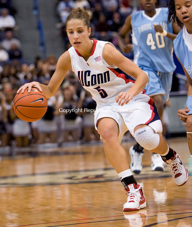 HARTFORD, CT - 22 NOVEMBER 2008 -112208JT03-<br /> FOR ACTION MAN: UConn's Caroline Doty during Saturday's game against Rhode Island at the XL Center in Hartford. The Huskies won, 91-43.<br /> Josalee Thrift / Republican-American