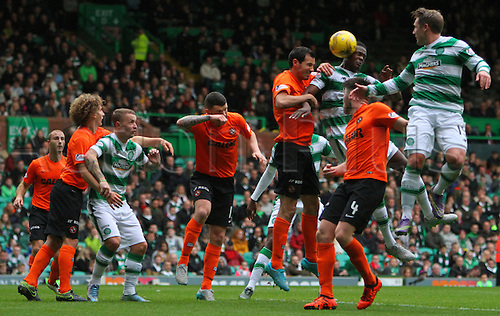 25.10.2015. Glasgow, Scotland. Scottish Premier League. Celtic versus Dundee United. Dedryck Boyata heads another goal for Celtic