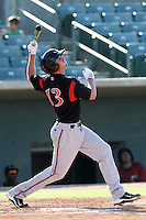 Jonathan Roof #13 of the Lake Elsinore Storm bats against the Lancaster JetHawks at Clear Channel Stadium on May 11, 2012 in Lancaster,California. (Larry Goren/Four Seam Images)