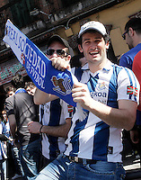 Real Sociedad's supporters before La Liga match.April 14,2013. (ALTERPHOTOS/Acero)