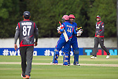 ICC World T20 Qualifier - GROUP B MATCH - AFGHANISTAN v UAE at Grange CC, Edinburgh - Asghar Stanikzai and Samiullah Shenwari celebrate the Afghanistan victory over UAE — credit @ICC/Donald MacLeod - 10.07.15 - 07702 319 738 -clanmacleod@btinternet.com - www.donald-macleod.com
