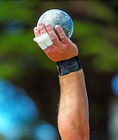 Canterbury's Tom Walsh competes in the senior men's shot put on day three of the 2015 National Track and Field Championships at Newtown Park, Wellington, New Zealand on Sunday, 8 March 2015. Photo: Dave Lintott / lintottphoto.co.nz