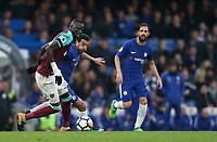 West Ham United's Cheikhou Kouyate and Chelsea's Pedro<br /> <br /> Photographer Rob Newell/CameraSport<br /> <br /> The Premier League - Chelsea v West Ham United - Sunday 8th April 2018 - Stamford Bridge - London<br /> <br /> World Copyright &copy; 2018 CameraSport. All rights reserved. 43 Linden Ave. Countesthorpe. Leicester. England. LE8 5PG - Tel: +44 (0) 116 277 4147 - admin@camerasport.com - www.camerasport.com