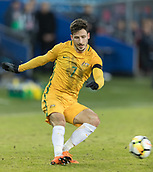 23rd March 2018, Ullevaal Stadion, Oslo, Norway; International Football Friendly, Norway versus Australia; Mathew Leckie of Australia passes the ball