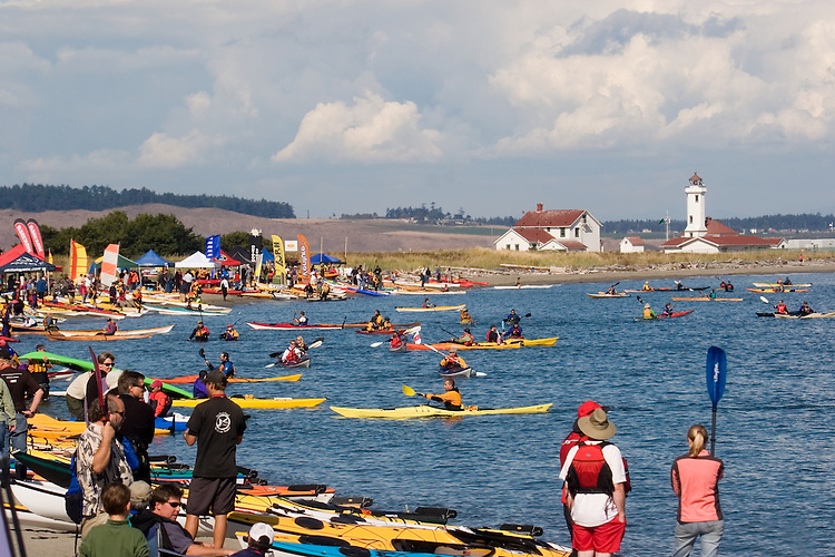 Puget Sound, Sea Kayakers, Point Wilson Lighthouse, Port Townsend, Washington State, Admiralty Inlet, Fort Worden State Park, Sea Kayaking Symposium, summer, .