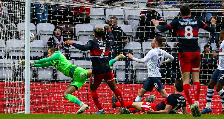Preston North End's Michael Crowe can't stop the shot from Doncaster Rovers' Tom Anderson<br /> <br /> Photographer Alex Dodd/CameraSport<br /> <br /> The Emirates FA Cup Third Round - Preston North End v Doncaster Rovers - Sunday 6th January 2019 - Deepdale Stadium - Preston<br />  <br /> World Copyright © 2019 CameraSport. All rights reserved. 43 Linden Ave. Countesthorpe. Leicester. England. LE8 5PG - Tel: +44 (0) 116 277 4147 - admin@camerasport.com - www.camerasport.com