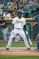 Jared Mitchell (13) of the Salt Lake Bees at bat against the Iowa Cubs in Pacific Coast League action at Smith's Ballpark on August 20, 2015 in Salt Lake City, Utah. The Cubs defeated the Bees 13-2.  (Stephen Smith/Four Seam Images)