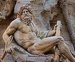 Bernini's Ganges river-god of the Fountain of the Four Rivers at the Piazza Navona in Rome