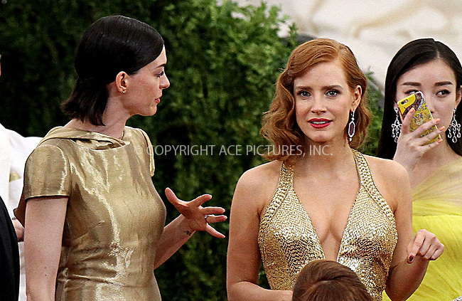 WWW.ACEPIXS.COM<br /> <br /> May 4 2015, New York City<br /> <br /> Anne Hathaway and Jessica Chastain leaving the 2015 Met Gala on May 4 2015 in New York City<br /> <br /> By Line: Nancy Rivera/ACE Pictures<br /> <br /> <br /> ACE Pictures, Inc.<br /> tel: 646 769 0430<br /> Email: info@acepixs.com<br /> www.acepixs.com