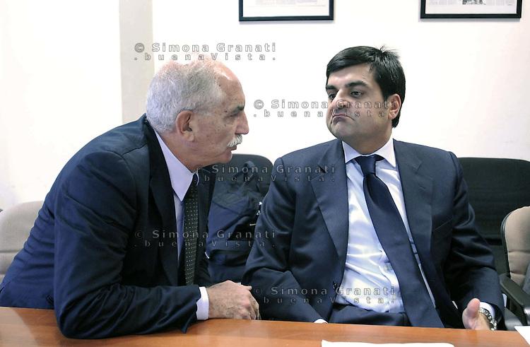 Roma Ottobre 2009.Luca Palamara presidente dell'Associazione nazionale magistrati e Armando Spataro procurtore aggiunto di Milano nella sede del quotidiano L'Unità.