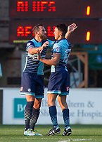 Paul Hayes of Wycombe Wanderers congratulates goalscorer Luke O'Nien of Wycombe Wanderers during the Friendly match between Wycombe Wanderers and AFC Wimbledon at Adams Park, High Wycombe, England on 25 July 2017. Photo by Andy Rowland.
