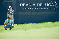 Jordan Spieth (USA) lines up his putt on 9 during round 2 of the Dean &amp; Deluca Invitational, at The Colonial, Ft. Worth, Texas, USA. 5/26/2017.<br /> Picture: Golffile | Ken Murray<br /> <br /> <br /> All photo usage must carry mandatory copyright credit (&copy; Golffile | Ken Murray)